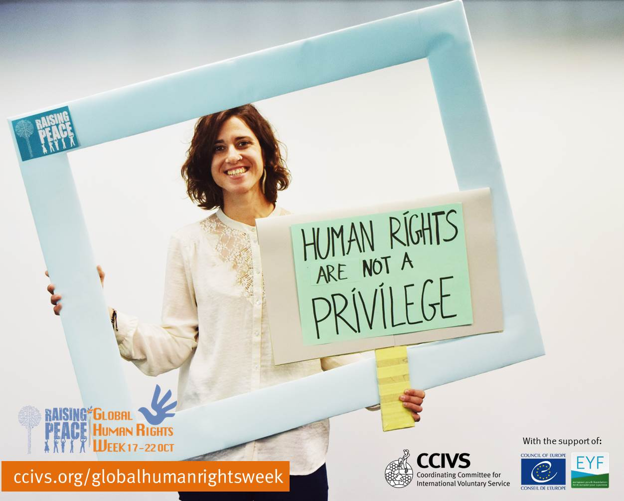 Photo by CCIVS for the campaign Raising Peace during the Human Rights Week, October 2016.